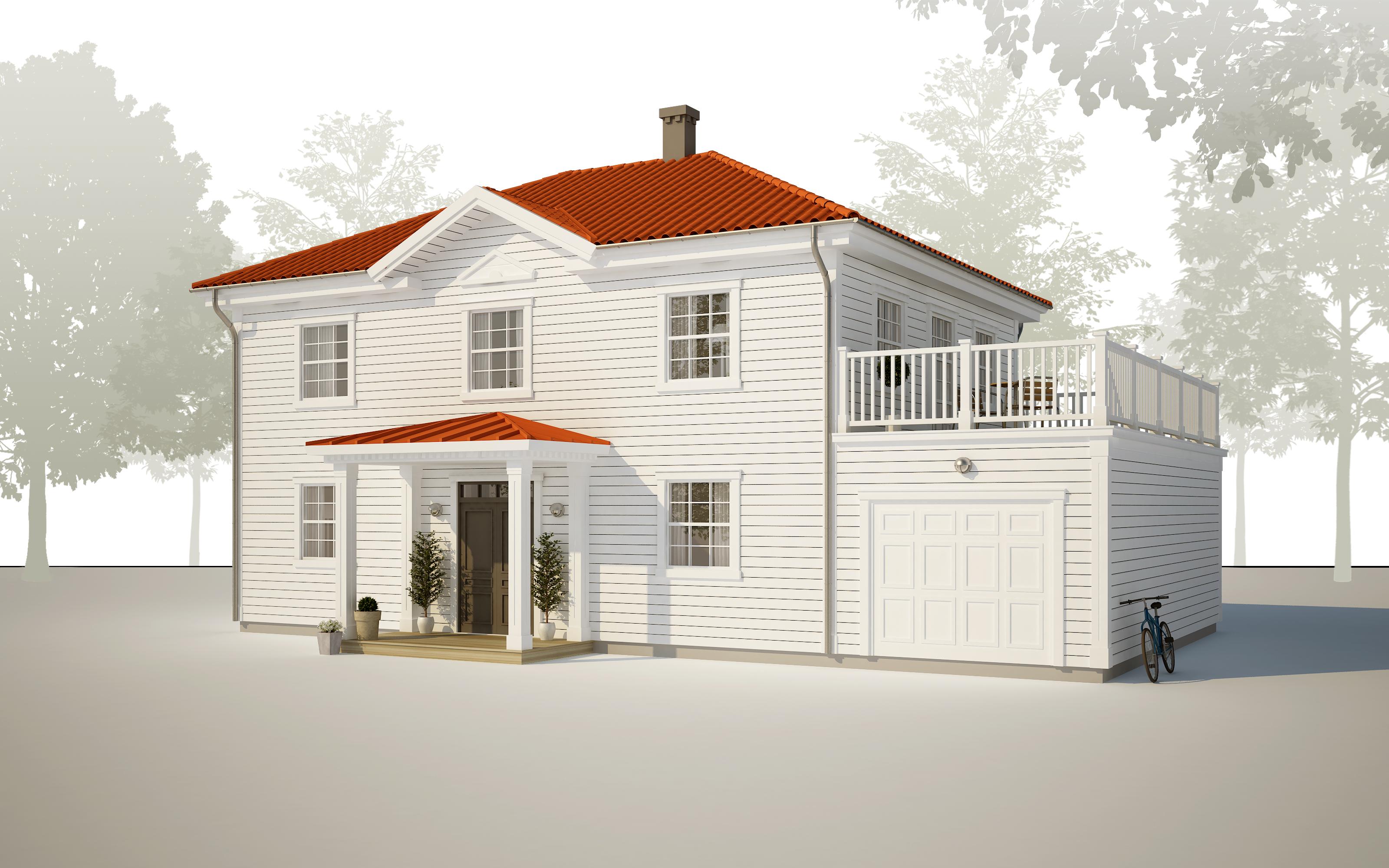 Mjöbäcksvillan 2-plans hus till ledig tomt